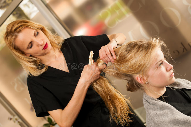 download professional hair stylist at work hairdresser doing hairstyle stock image image 72551889 - Professional Hair Stylist