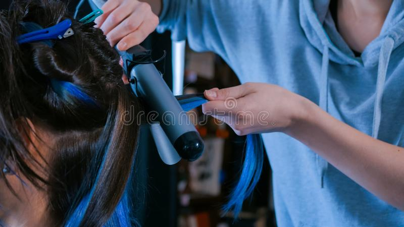 Professional hairdresser doing hairstyle for woman - making curls royalty free stock images