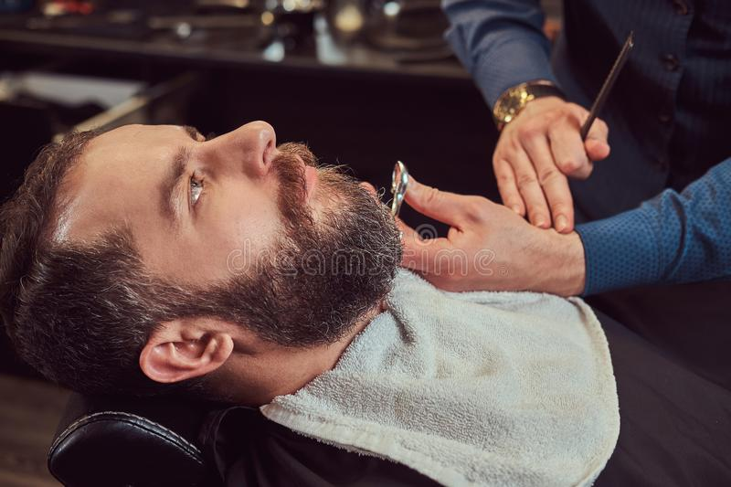 Professional hairdresser modeling beard with scissors and comb at the barbershop. Close-up photo stock photography