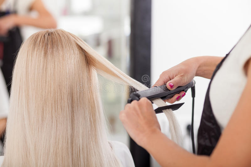 download professional hairstylist is working with iron stock photo image of customer freshness