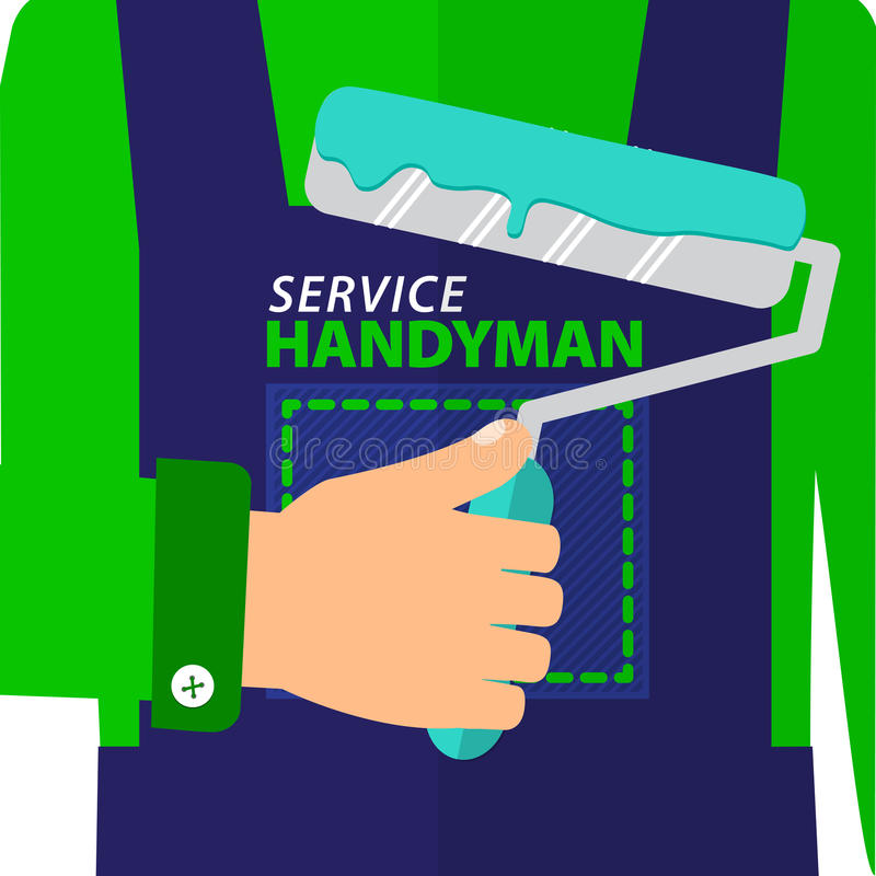Professional handyman services logo. Handyman dressed in a blue jumpsuit holding a roller to paint. royalty free illustration