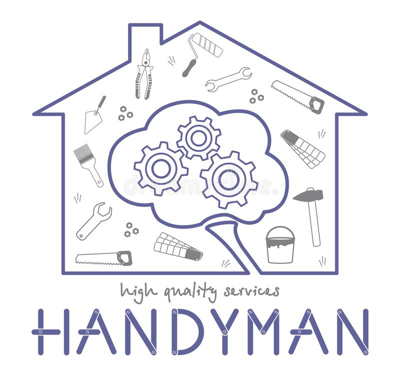 Professional handyman services logo. Silhouette of the house and the silhouette of the brain. Concept of smart handyman services. royalty free illustration