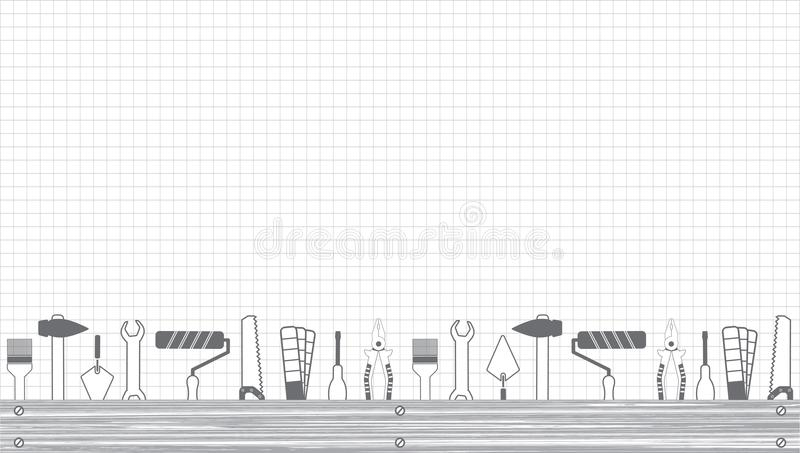 Professional handyman services . Vector banner template with tools collection and text space. Set of repair tools on a sheet in a. Cage. Flat design stock illustration