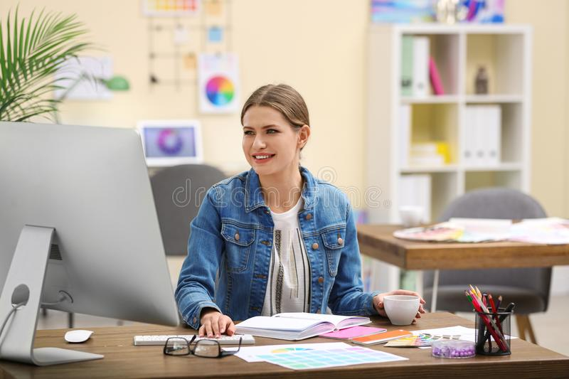 Professional interior designer at workplace royalty free stock photo