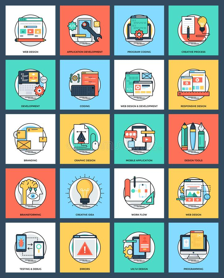 Bundle of Design and Development Flat Vector Icons royalty free illustration