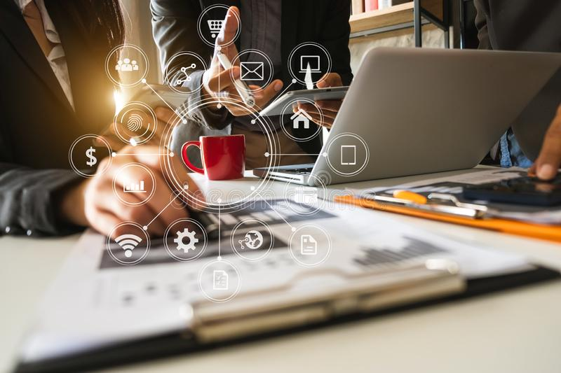 Professional investor working new start up project.  Social media and Marketing virtual icons royalty free stock photo