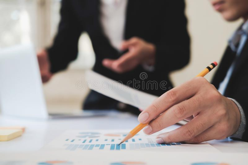 Professional investor working new startup project. stock photo