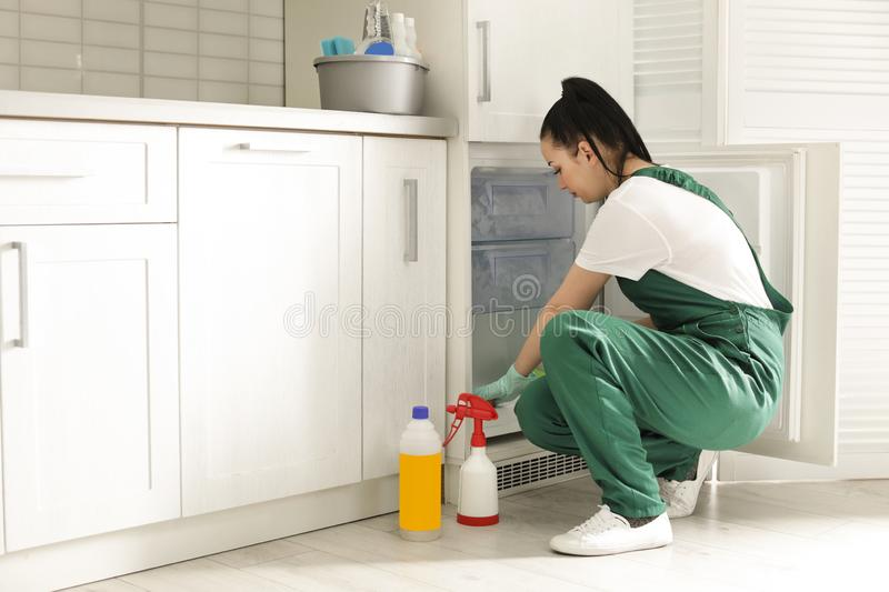 Professional janitor cleaning modern fridge. In kitchen royalty free stock photo