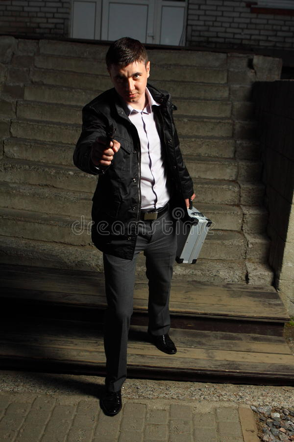 Professional Killer On The Street Royalty Free Stock Images