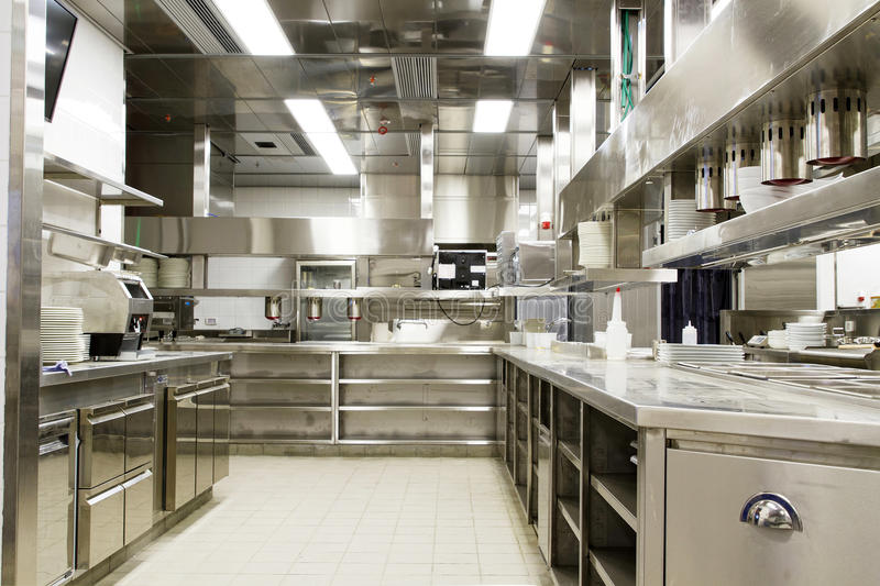 Exterior: Professional Kitchen, View Counter In Steel Stock Photo
