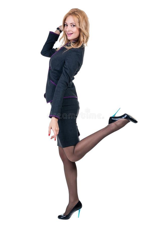 professional kvinnabarn Caucasian affärskvinna som isoleras på vit bakgrund royaltyfria bilder