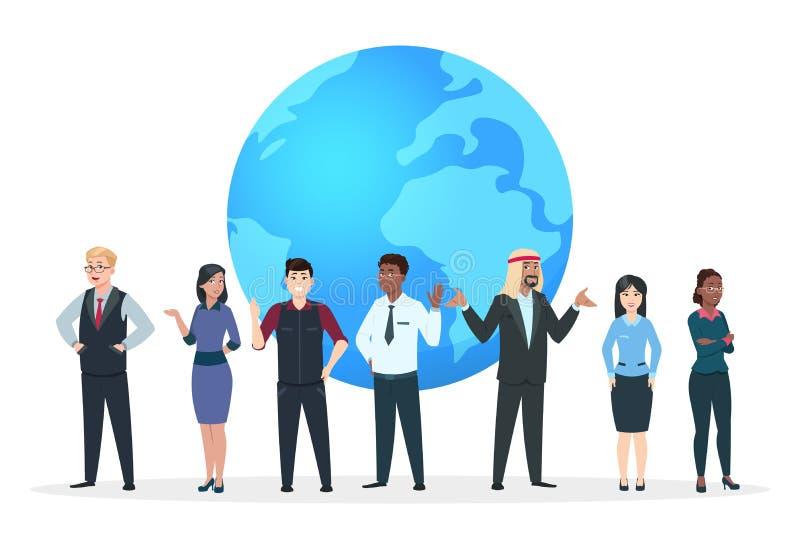 professional lag Asiatiskt, europeiskt och afrikanskt affärsfolk som står på världsjordklotet Internationell affärsvektor vektor illustrationer