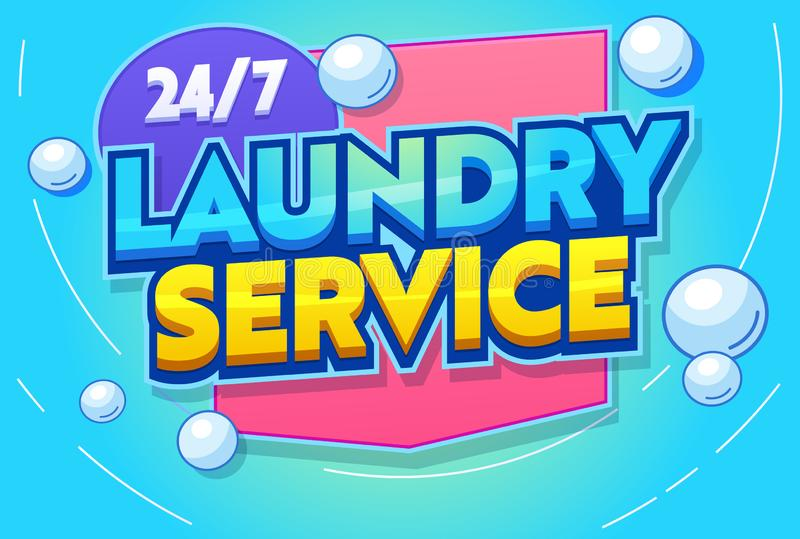 Professional Laundry Service Typography Banner. Modern Washing Machine Agitation, Rinsing, Ironing and Folding Clothing vector illustration