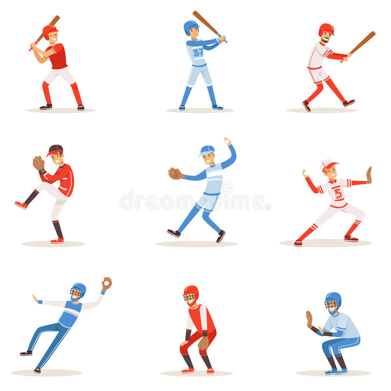 Professional League Baseball Players On The Field Playing Baseball, Sportsmen In Uniform Set Of Vector Illustrations. vector illustration