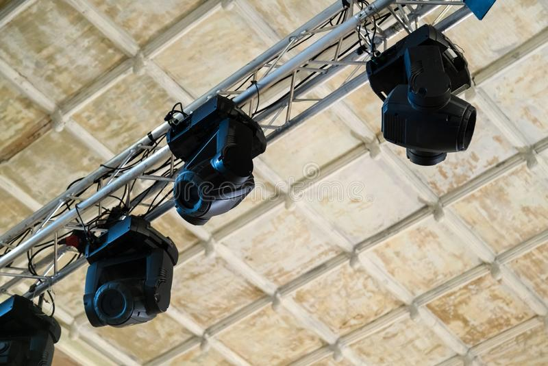 Professional lighting equipment for stage performances on the ce stock image