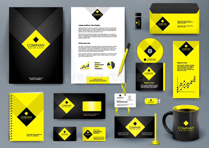 Professional luxury universal branding design kit for jewelry shop, cafe, restaurant, hotel. Golden style with yellow. royalty free illustration