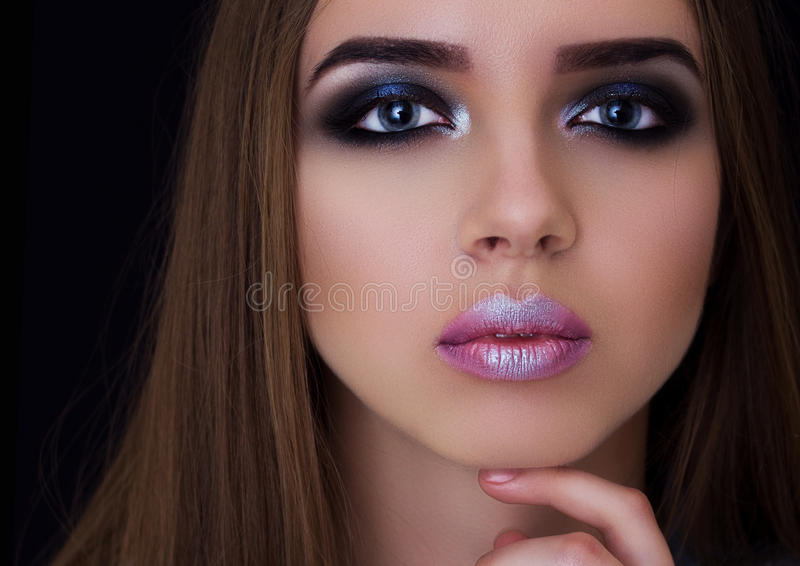 Professional make-up on the big eyes model royalty free stock photo