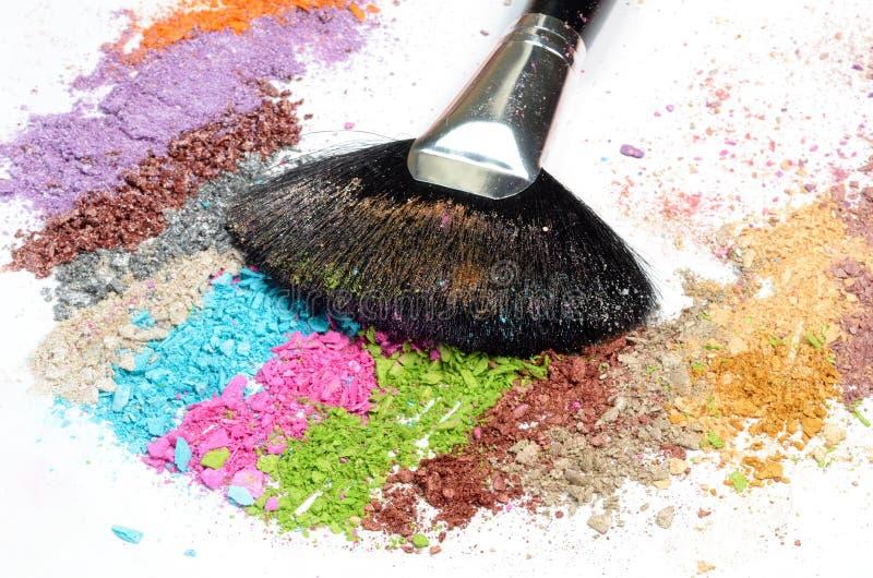 Professional make-up brush on colorful eye royalty free stock image