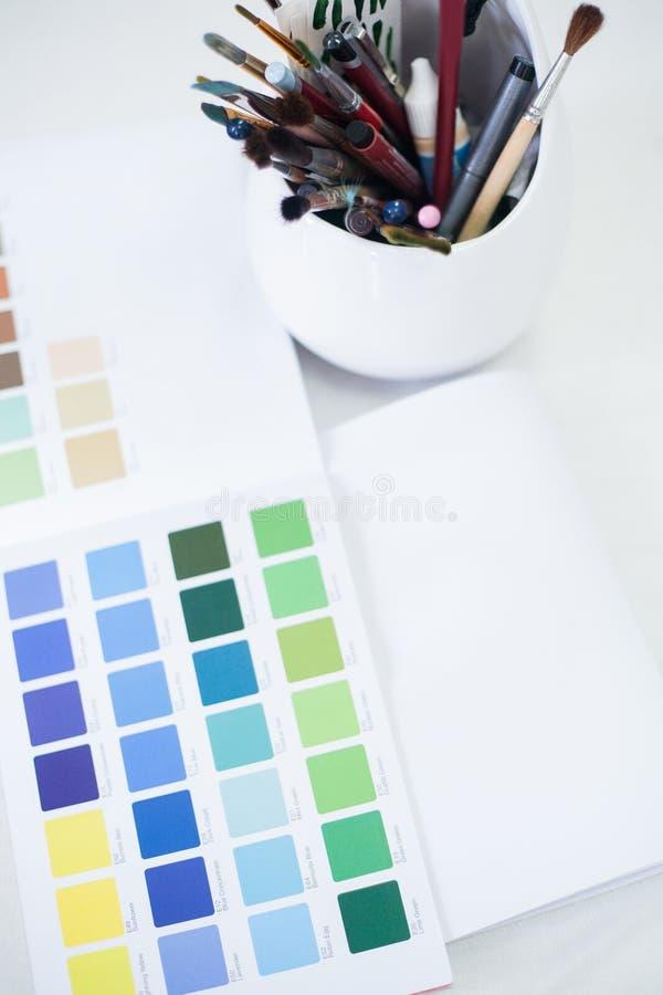 Professional makeup artist tools swatch brushes stock photos