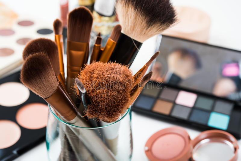 Professional makeup brushes and tools, make-up products set royalty free stock image