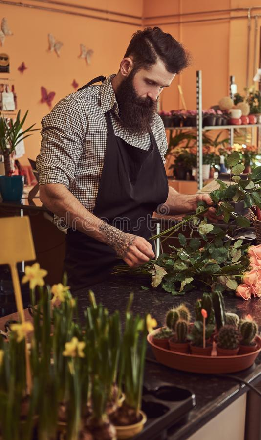Professional male florist with beard and tattoo on his hand making a beautiful flower composition while standing at the royalty free stock photo