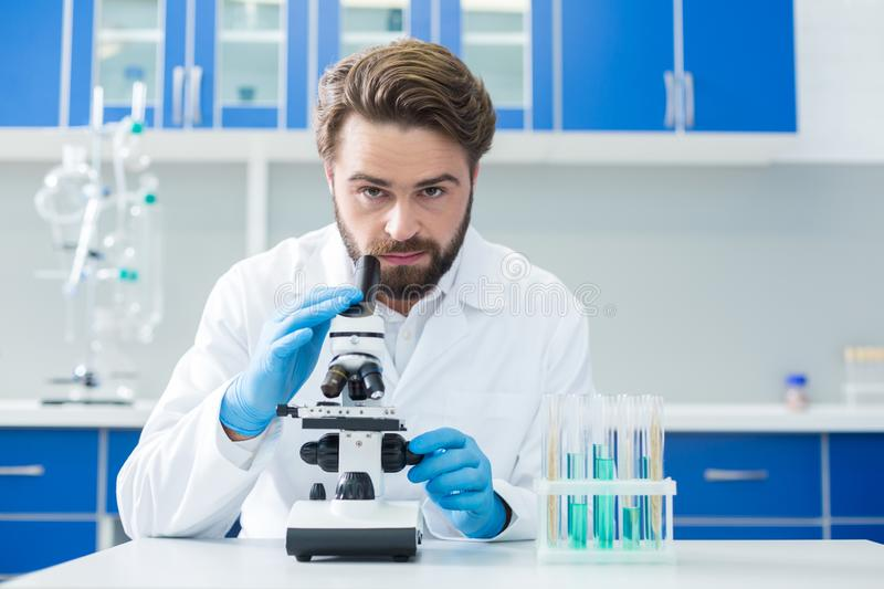 Professional male scientist being at work stock images