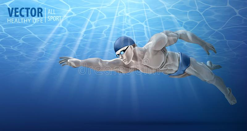 Professional male swimmer inside swimming pool. A man dives into the water. Summer background. Texture of water surface royalty free illustration