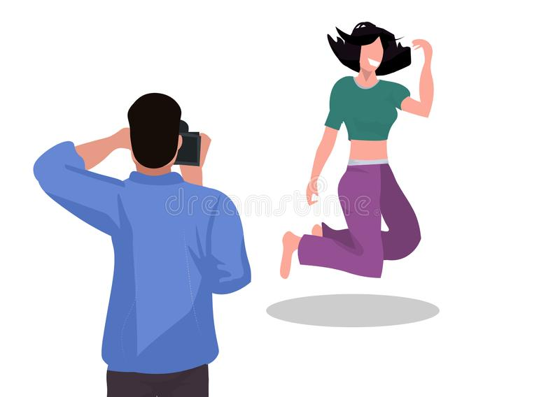 Professional man photographer shooting beautiful woman model girl jumping mid-air shoot modern photo studio white stock illustration