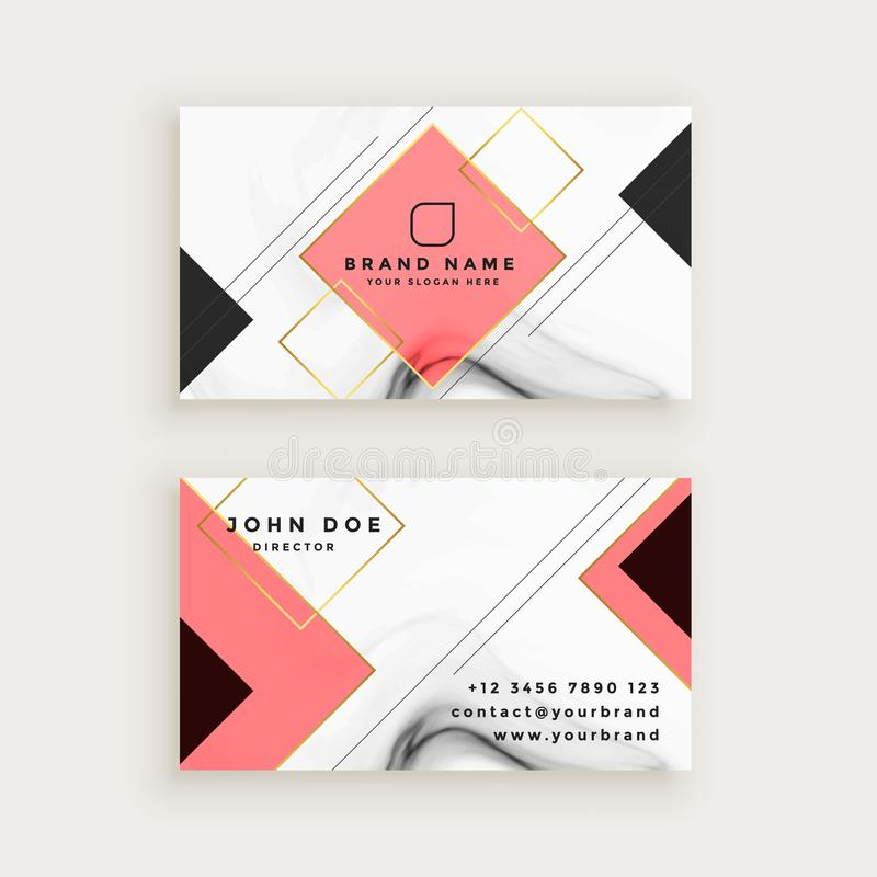 Professional marble business card with diamond shape stock illustration