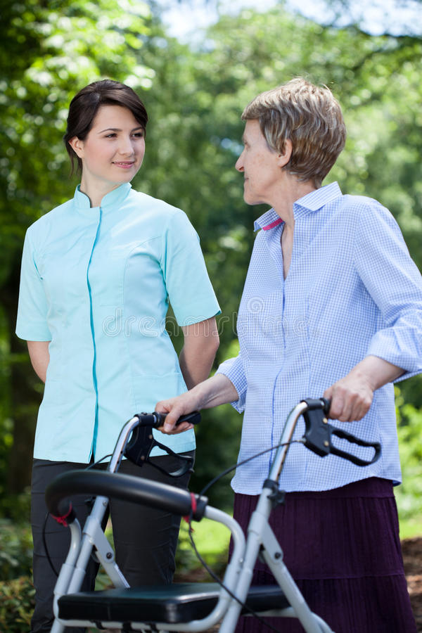 Professional medical care at nursing home royalty free stock photography
