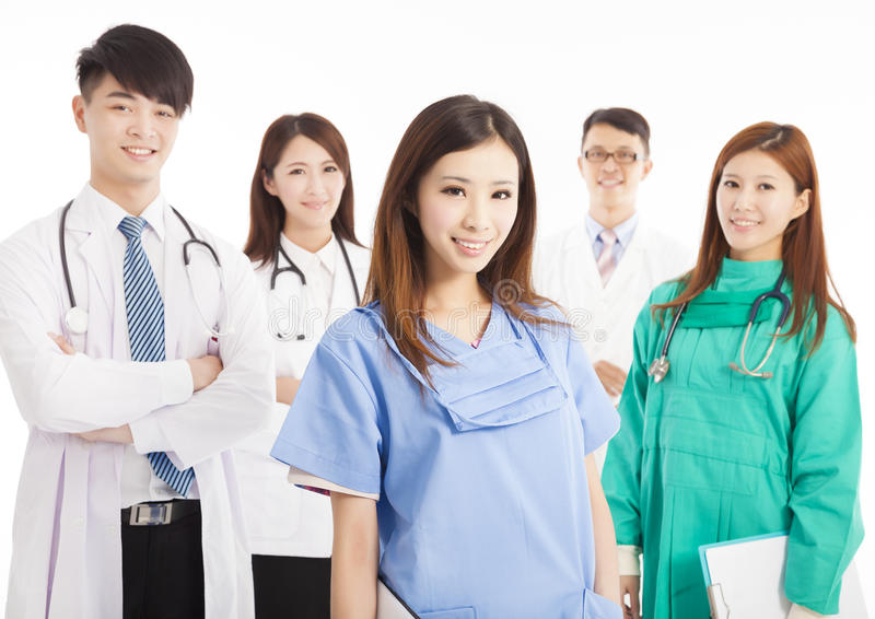 Professional medical doctor team standing stock photo