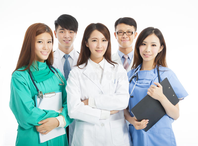 Professional medical doctor team standing. Over white background royalty free stock image