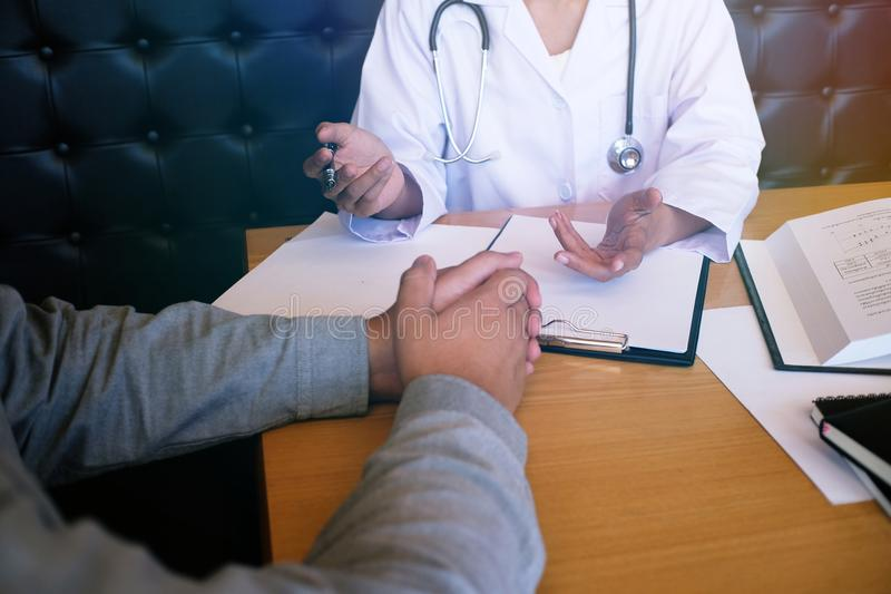 Professional medical doctor in white uniform gown coat interview stock images