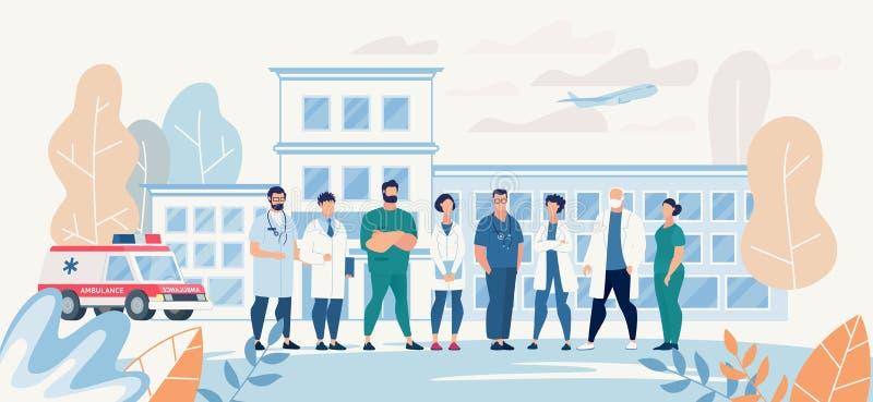 Professional Medical Team Staff in Clinic Yard royalty free illustration