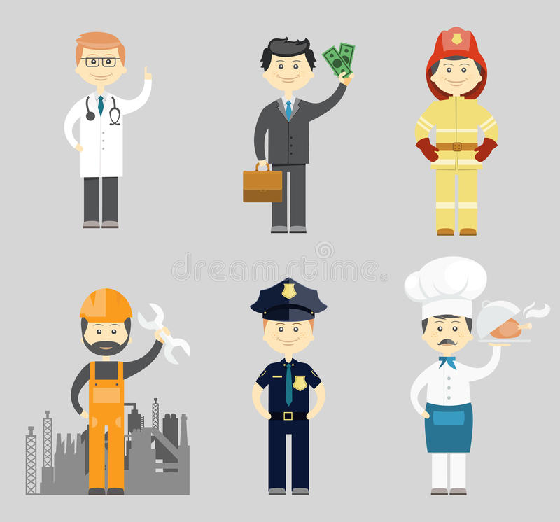 Professional men character icon vector set vector illustration