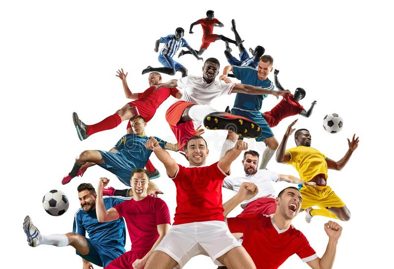 Professional men - football soccer players with ball isolated white studio background royalty free stock photos