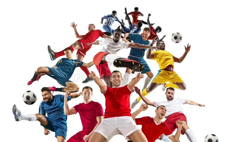 Professional men - football soccer players with ball isolated white studio background royalty free stock photo