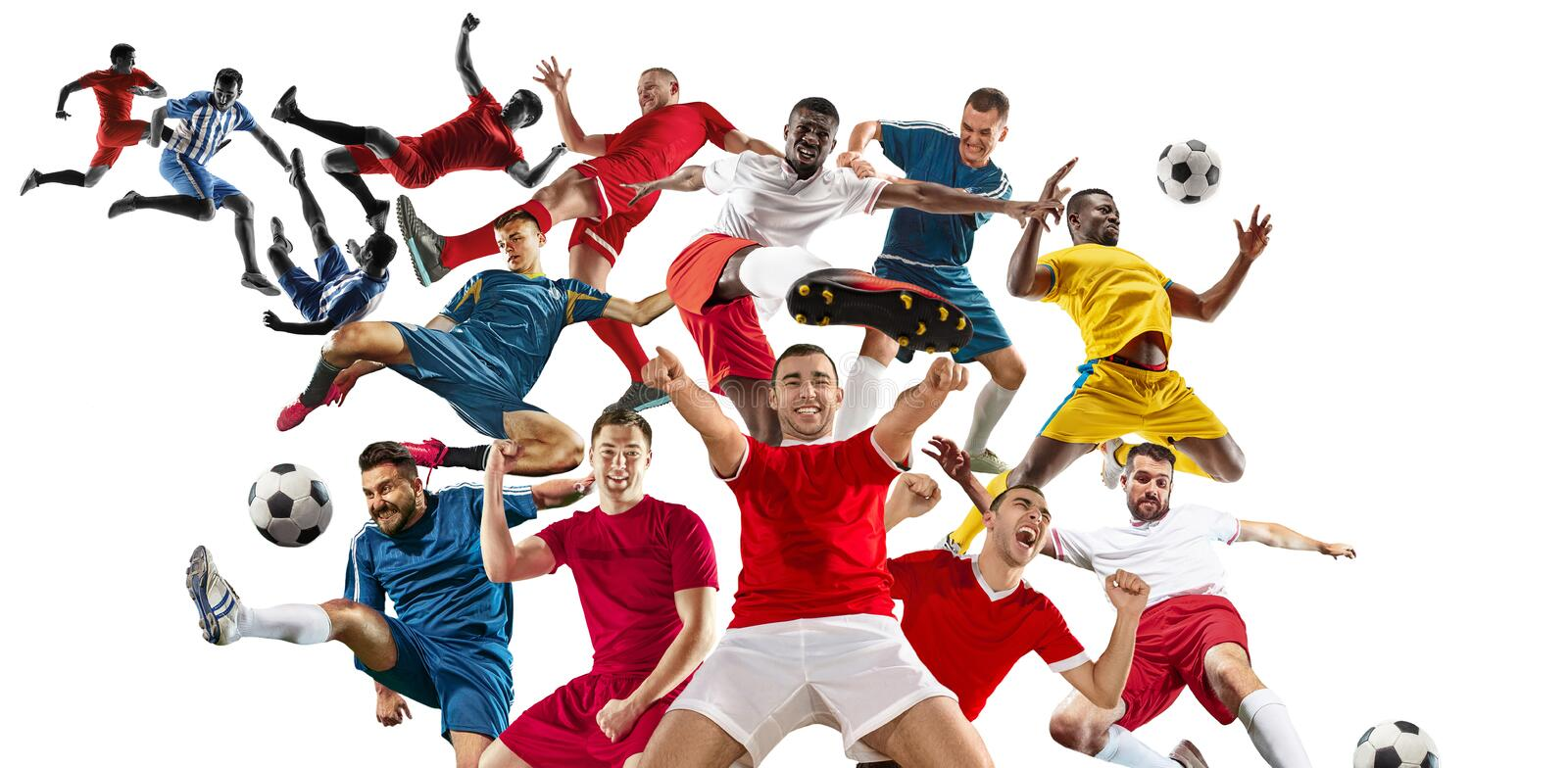 Professional men - football soccer players with ball isolated white studio background royalty free stock images
