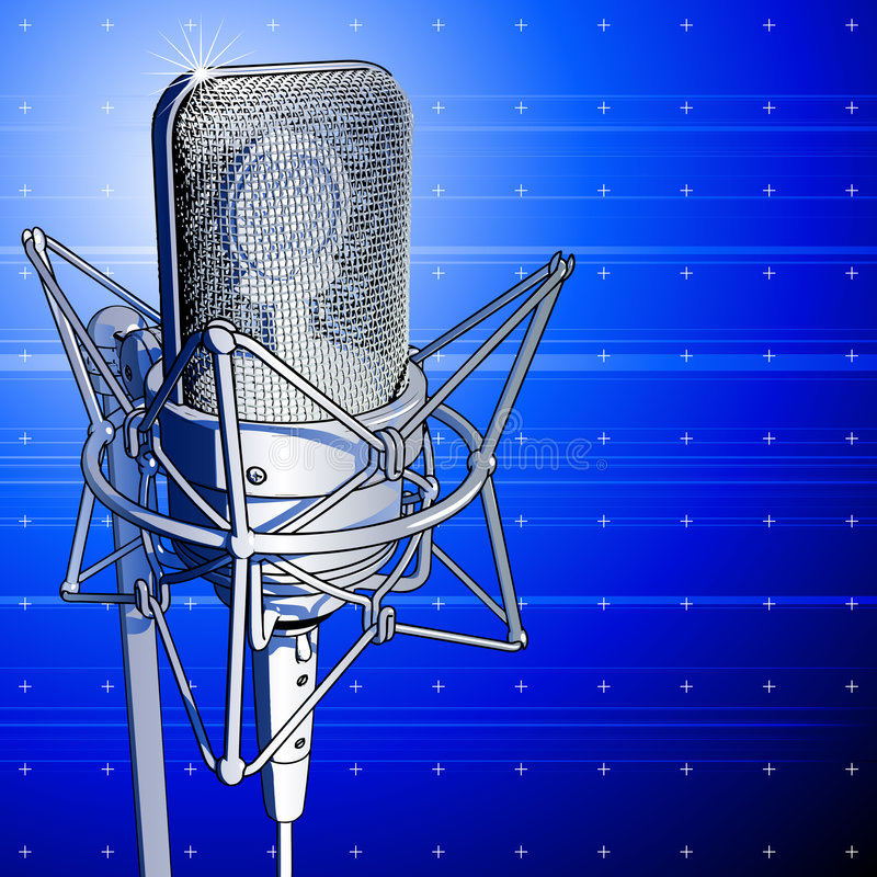 Professional microphone. On blue background vector illustration