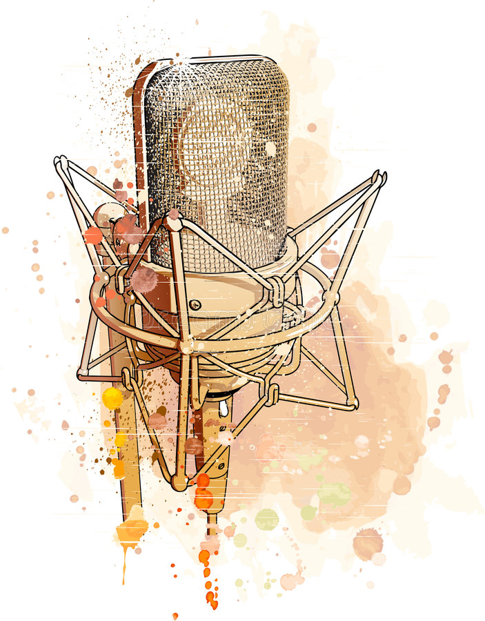 Professional microphone. Professional gold microphone & watercolor background royalty free illustration