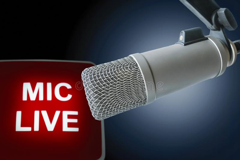 Professional microphone Live. For radio station: Professional Microphone on air stock photography