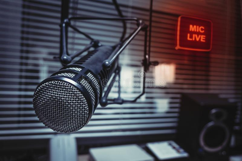 Professional microphone in studio. Professional Microphone in radio station studio on air royalty free stock images