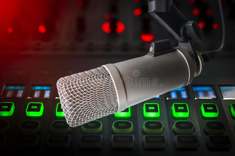 Professional microphone and sound mixer. For radio station: Professional Microphone and sound mixer stock image