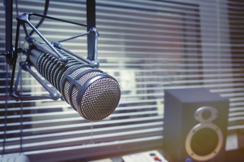 Professional microphone in studio. Professional Microphone in radio station studio stock photos