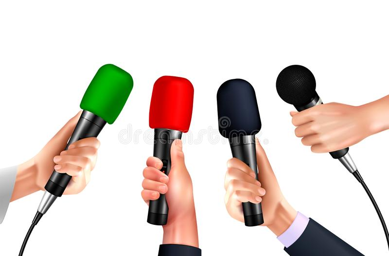 Professional Microphones Hands Realistic vector illustration
