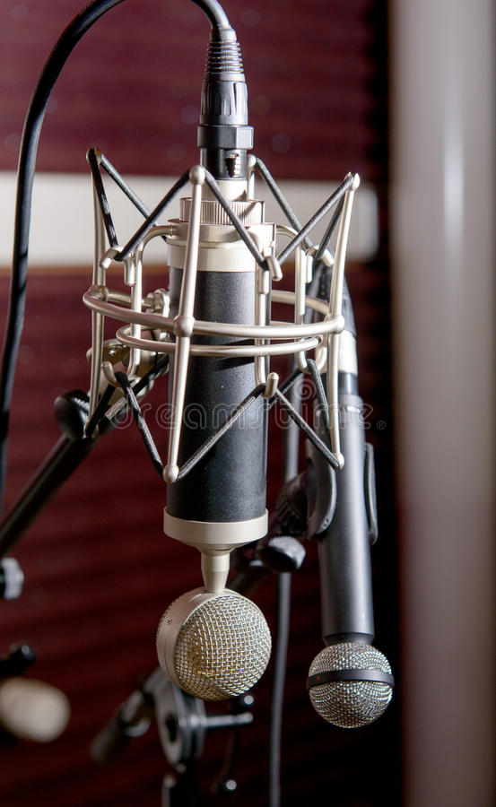 Professional microphones. In a recording studio royalty free stock photography
