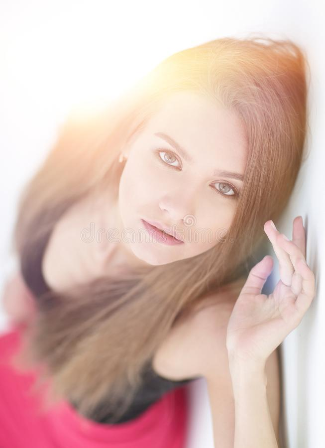 Professional model girl in red dress stock images