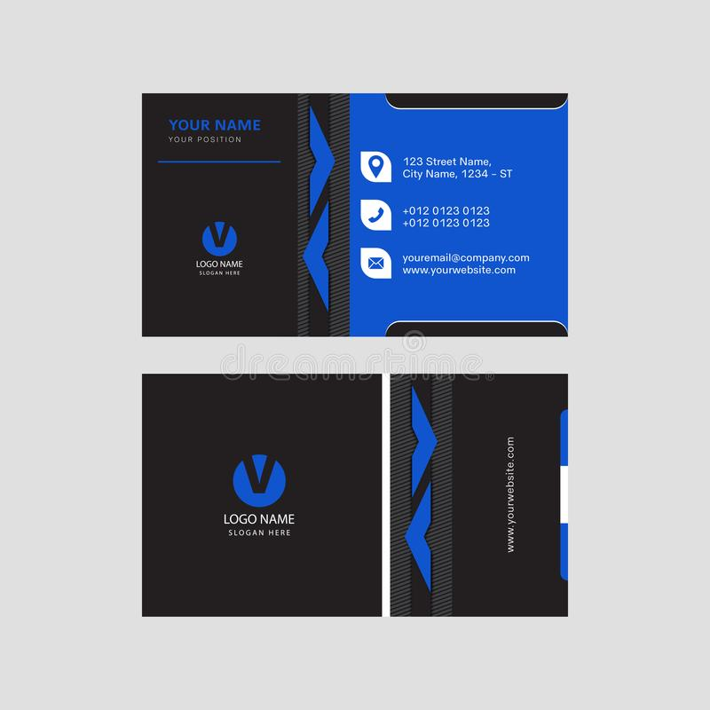 Professional modern blue and black color business card invitation card design royalty free illustration