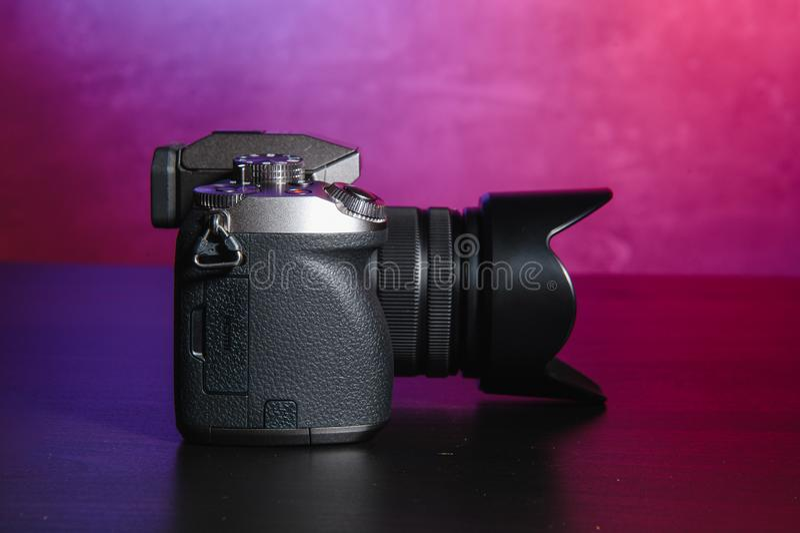 Professional modern DSLR camera .Digital modern photo camera royalty free stock images
