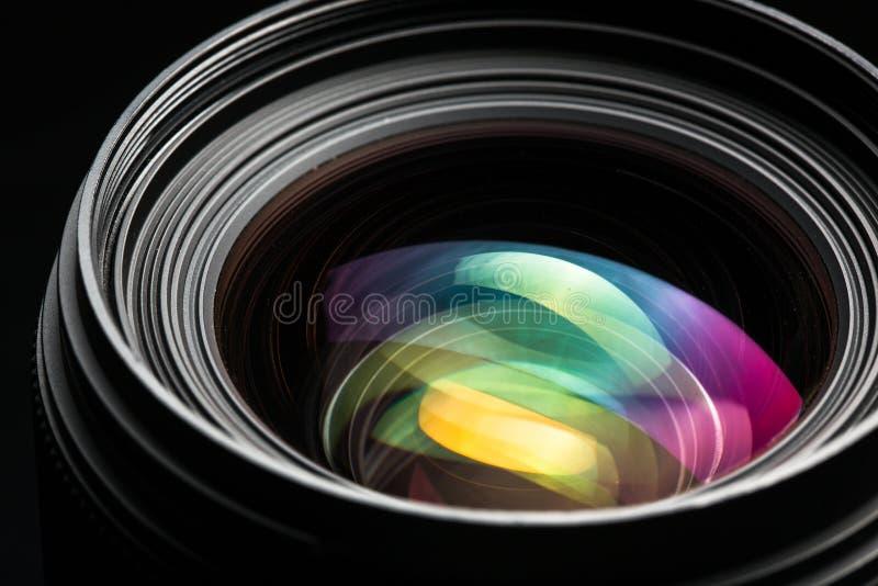 Professional modern DSLR camera llense low key image